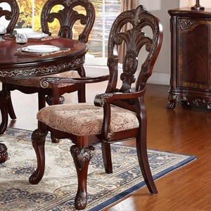 Traditional Dining Arm Chair with Upholstered Seat and Ornate Detailing