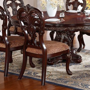 Traditional Dining Side Chair with Upholstered Seat and Ornate Detailing