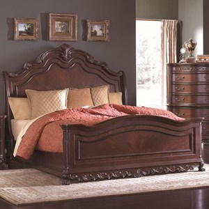 Traditional Queen Sleigh Bed with Ornate Detailing