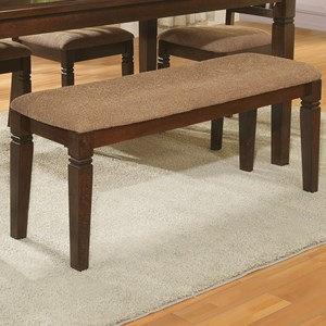 Transitional Upholstered Dining Bench with Notch Accents