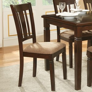 Transitional Dining Side Chair with Notch Accents