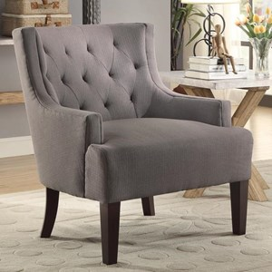 Transitional Accent Chair with Tufted Back