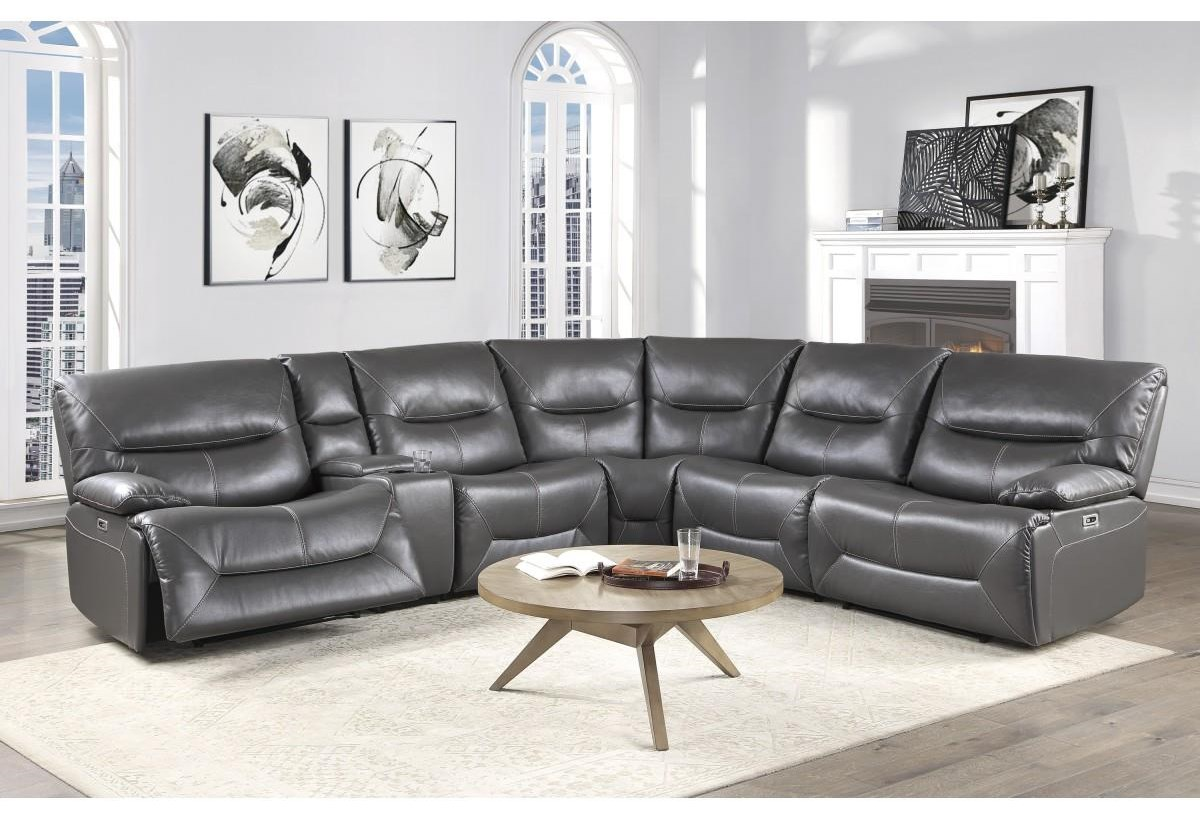 Dyersburg 6 Piece Grey Power Sectional by Homelegance at Darvin Furniture