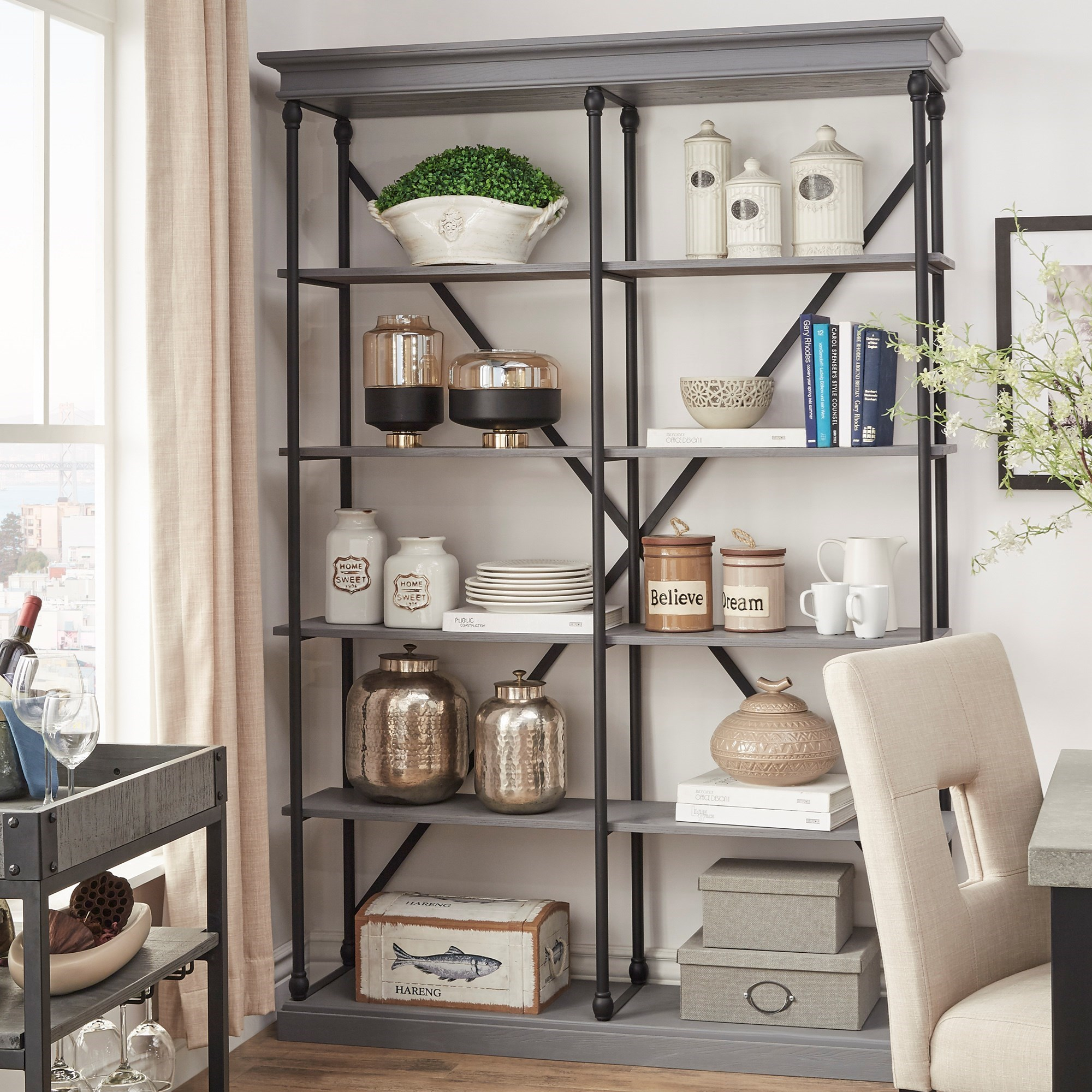 E296 X-Back Open Bookcase with Metal Frame by Homelegance at Rooms for Less