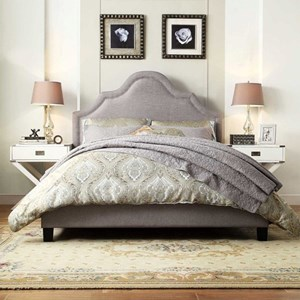 Transitional Full Upholstered Bed with Nailhead Trim
