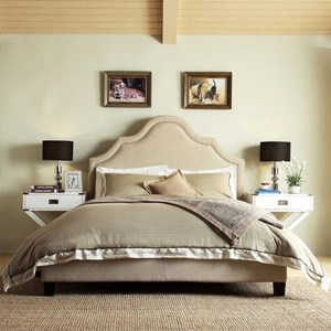 Transitional King Upholstered Headboard with Nailhead Trim
