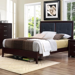 Contemporary Queen Panel Bed  with Button-Tufted Headboard Panels