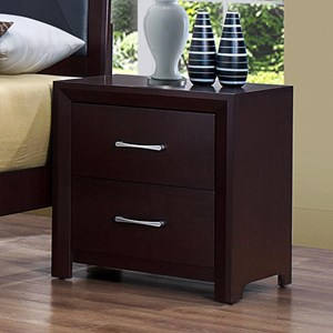 Contemporary 2-Drawer Nightstand with Polished Nickel Hardware