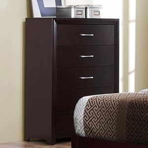 Contemporary Chest of Drawers with Polished Nickel Hardware