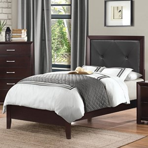 Contemporary Twin Headboard and Footboard Bed with Tufted Panel Headboard