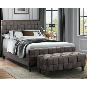 King Basket Weave Upholstered Bed