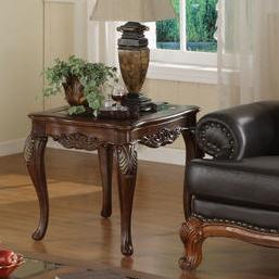 Acanthus Leaf End Table with Glass Insert Top