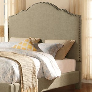 Contemporary Queen Upholstered Headboard with Nailhead Trim