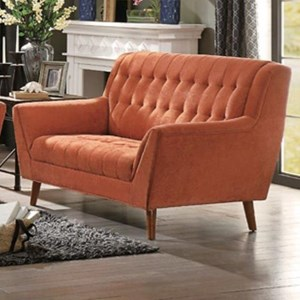 Mid Century Modern Upholstered Loveseat with Tufting