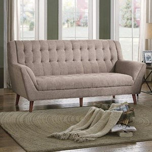 Mid Century Modern Upholstered Sofa with Tufted Seatback