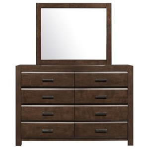 Eight Drawer Dresser and Mirror Set