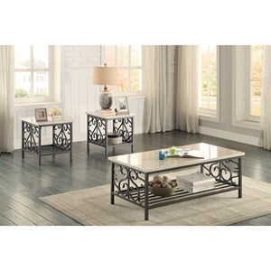 Transitional 3Pc Occasional Table Group with Faux Marble Tops