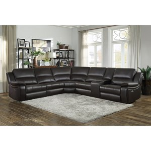 Casual 6 Piece Sectional with Power Reclining and USB Ports