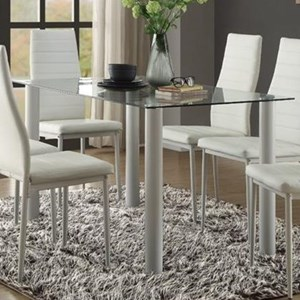 Contemporary Dining Table with Clear Glass Top