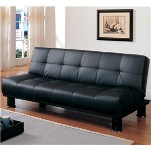 Black Click Clack Futon with Contrast Stitching