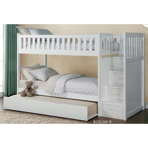 Twin Over Twin Staircase Storage Bunk Bed with Trundle