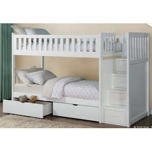 Twin Over Twin Storage Bunk Bed with Storage Drawers