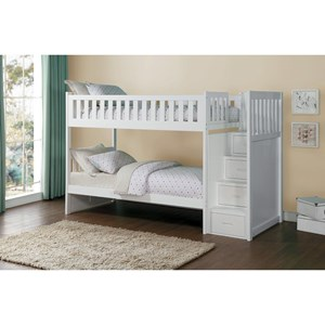 Twin Over Twin Staircase Storage Bunk Bed