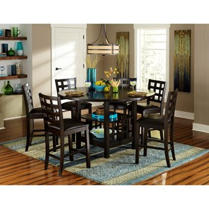 Transitional Counter Height Table and Chair Set with Drop Leaves