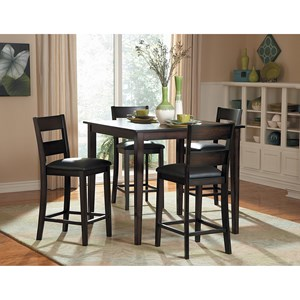 Transitional 5Pc Counter Height Table and Chair Set