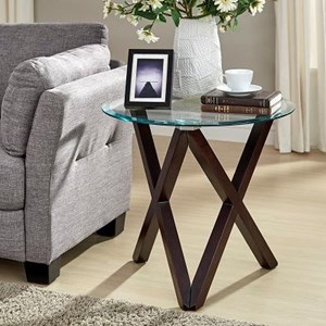 Contemporary End Table with Round Glass Top