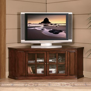 Transitional TV Stand with Glass Doorfronts