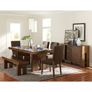 Contemporary Formal Dining Room Group with Bench and Self-Storing Leaf