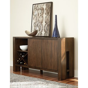 Contemporary Dining Server with Wine Bottle Storage
