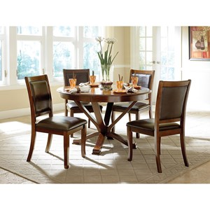 Transitional Round Table and Chair Set with Upholstered Chairs