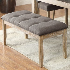 Contemporary Upholstered Dining Bench with Button Tufting
