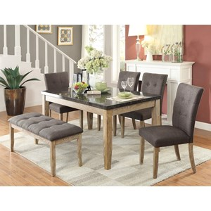 Contemporary Table and Chair Set with Bench with Button Tufting