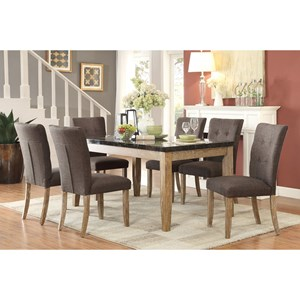 Contemporary Table and Chair Set with Button Tufted Seats