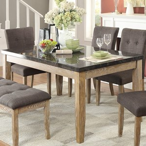 Contemporary Dining Table with Faux Marble Table Top