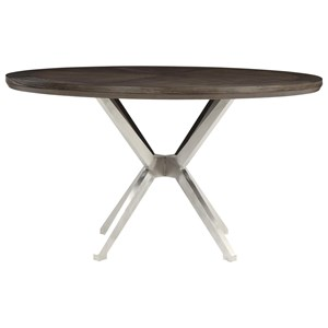 Mid-Century Modern Round Dining Table with Stainless Steel Base