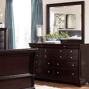 Nine Drawer Dresser and Landscape Mirror Set