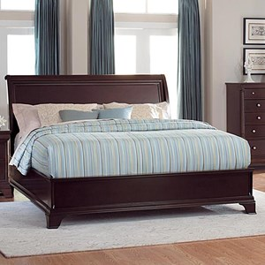 Queen Sleigh Bed with Low Profile Footboard