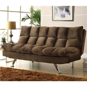 Chocolate Microfiber Lounger with Tufting