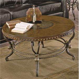 Traditional Round Shapely Cocktail Table with Etched Center Motif