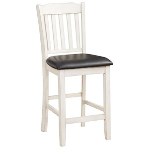 Slat Back Counter Height Chair with Vinyl Seat