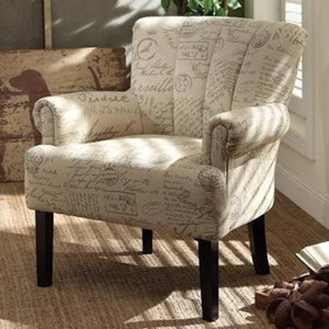 Transitional Accent Chair with Tufted Fan Back