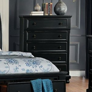 Transitional Chest of Drawers with Hidden Felt-Lined Drawer