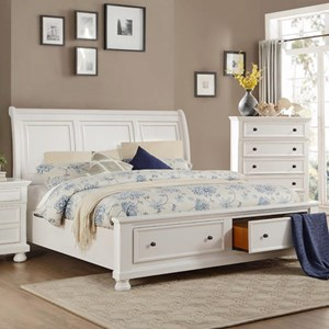 Transitional King Storage Bed with Footboard Drawers