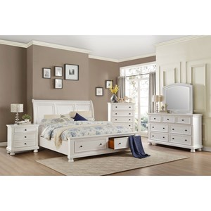 Transitional King Bedroom Group with Footboard Drawers