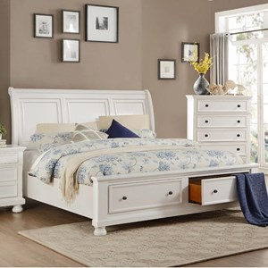 Transitional Queen Storage Bed with Footboard Drawers