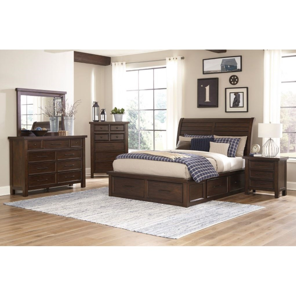 Logan 5 Piece King Storage Bedroom Group by Home Style at Walker's Furniture